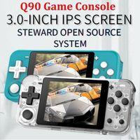 ألعاب متعددة المحاكي ل POWKIDDY Q90 الرجعية لعبة وحدة التحكم مفتوحة المصدر نظام مزدوج 3 بوصة شاشة IPS اللاعب المحمولة