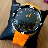 Draht Watch T-Touch Experte Solar T091 Blaues Zifferblatt Chronograph Quarz Blue Gummi-Riemen-Bereitstellungsverschluss Herrenuhr Armbanduhren Herren Wasserbeständig
