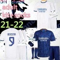 2021 2022 Real Madrid Jerseys 21 22 Soccer Jersey Tehlike Alaba Vini Jr. Sergio Ramos Benzema Kroos Asensio Modric Camiseta Futbol Gömlek Üniformaları Yetişkin Seti + Çorap Setleri