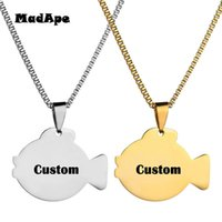 Pendant Necklaces MadApe Stainless Steel Fish Custom Name Engraved Date Necklace Animal Chain Jewelry For Women Children