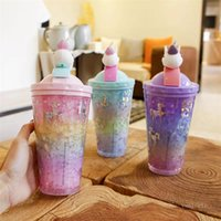 Water Cup Rainbow Unicorn Cute mugs Creative Summer Crushed Ice Cup Double Refrigeration Colorful Plastic Straw Cup Drinking ZC214