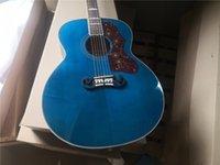 Custom SJ 200 Sunburst 43 pulgadas de guitarra acústica, guitarra azul, guitarra de cuerdas de acero, guitarra folclórica, freboard de palisandro