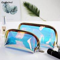 Косметические сумки Женщины лазерная многофункциональная большая емкость прозрачные женские портативные модные шикарные случайные случаи хранения водонепроницаемые