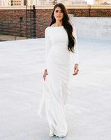 Autumn Simple Mermaid Wedding Dresses Long Sleeve Satin Bridal Gowns Back Button Modest Muslim Reception Dress Sweep Train