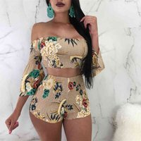 Floral Print Casual Two Piece Set Off Shoulder Cami Top & Shorts Set Summer Short Tracksuit Women Sexy Bodycon Romper S-XXL 210722