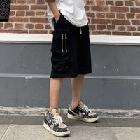 Zipper Pockets Retro Cargo Shorts Mens Drawstring Oversize Terry Casual Summer Short Loose Straight Solid Baggy Five Point Pants