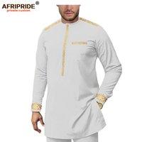 Африканская одежда для мужчин спортивные рубашки и брюки Установить Дашики Анкара Распечатать цветочные наряды Afripride A1916075