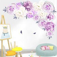 Wall Stickers 3D Creative Purple Peony Sticker Art Mural Living Room Bedroom Waterproof Decoration Modern Home PVC
