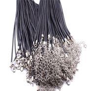 Siyah Deri Kordon Halatı 1.5mm Tel Için DIY Kolye Kolye Hediye Ile Istakoz Toka Bağlantı Zinciri Charms Takı 100 adet / grup Toptan 69 J2