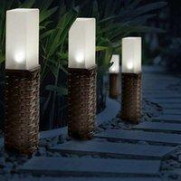 Lawn Lamps Solar Power Stone Pillar White LED Lights Garden Courtyard Decoration Lamp Landscape Pathway Light Outdoor EU Stock