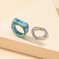 Korea vintage transparante hars multi-color ringen chique kleurrijke acryl geometrische onregelmatige ring set voor vrouwen sieraden 1593 Q2