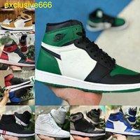 OG BOX 2021 1 ثانية أحذية كرة السلة الرجال النساء الأفعى manbasketballshoes الأزرق UNC براءات الأبيض تويست الأخضر تو الأحذية رجل موكا