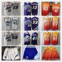 Men27 Gobert Donovan Mens 45 Mitchell Shorts John 12 Stockton Karl Shirts 32 Malone Pete 7 Maravich bestickte Basketball Swingman Trikots