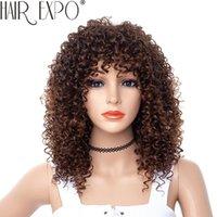 Synthetische Perücken 14inch Kurze kinky lockige Perücke Afro Amerikaner für schwarze Frauen braune gemischte blonde hitzebeständige mit Pony