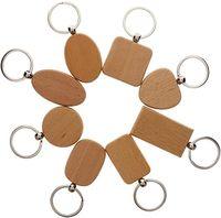 Simple estilo de madera llaveros llaveros diy ronda de madera cuadrado corazón oval rectángulo forma dominante colgante hecho a mano llavero regalo d274l