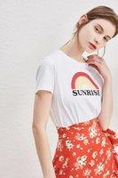 Women's T-Shirt Women Light Sunrise Print Letter Cotton Round Neck Short Sleeve