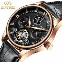 Мужчины Автоматические часы Мода Кожаные Механические Мужские Часы Наблюдательные Часы Фаза Фаза Календарь Reloj Автомобили