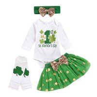 Clothing Sets #5 Born Infant Baby Girls St.patrick's Day Romper Tutu Skirt Outfits Summer Four-leaf Clover Children's Suit