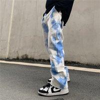 GRADIENTE TIE DYE MODELES PANTALONES CASOS Hombres sueltos High Street Pantalones de gran tamaño Hip Hop Baggy