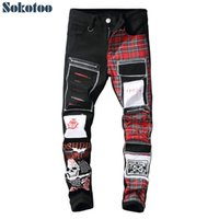 Sokotoo Hombre Cráneo Impreso Escocés Plaid Patchwork Jeans Modificados Parches Diseño Black Ripped Denim Denim Pantalones largos