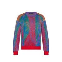 20SS Color Matching Jacquard Crew neck Sweater Sweat shirt Street Men Women Knitting Pullover Hoodies Autumn Winter Warm SweatersWBHN