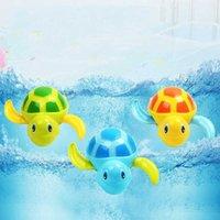 3 stks Cute Cartoon Tortoise Speelgoed Baby Bad Speelgoed Drijvende Zwem Turtle Wound Chain Clockwork Kids Beach Pool Bad Speelgoed Zwemmen Dier 194 B3
