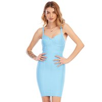 Romper adyce yaz wome mavi boyun bodycon bandaj kulübü parti seksi spagetti kayış mini ünlü pist elbise vestido