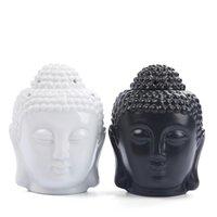 36 قطع التايلاندية بوذا رئيس المنزل الأساسية النفط الموقد السيراميك رائحة الناشر بوذا شمعة حامل زن زخرفة الروائح الأسود الأبيض