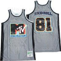 الرجال كرة السلة 81 روك لفة الموسيقى التلفزيون MTV جيرسي شريطية اللون الأبيض فريق التطريز والخياطة القطن الخالص تنفس الرياضة موحدة أعلى جودة