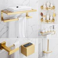 Bath Accessory Set Luxury Bathroom Hardware Gold Brushed Corner Shelf Space Aluminum Toilet Paper Holder Ceramic Brush Towel Rack
