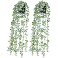 Decorative Flowers & Wreaths Artificial Potted Plants Fake Vine Hanging Leaves Home Kitchen Garden Office Wedding Wall Decoration 2 Pack