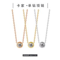 Kajia fashion CNC single diamond inlaid Round Pendant steel plated 18K gold chain