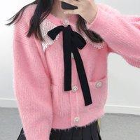 1021 2021 Milan Style Autumn Brand Same Style Sweater Pink Black Cardigan Lapel Neck Striped Print Regular Long Sleeve Women Clothes yuecheng