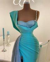 Sparkling Mermaid Prom Dresses High Side Split Sky Blue Glitter Sequins Satin Real Image Evening Dress Sweep Train Custom Made Long Robes De Soirée