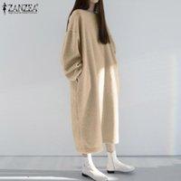 Элегантные пушистые толстовки платье женские зимние теплые пуловеры Zanzea 2021 повседневная толстовка с заклепом в рукаве Vestidos женский о шеи одевает платья