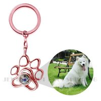 Custom 925 Sterling Silver Pet Photo Projection Loss Gift Memory of Loved One-remembrance Keyring Necklace with Paw Print Charm H0915
