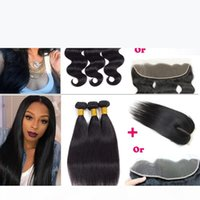 Malaysian Hair Wet and Wary Hair Bundles with Ear to Ear Lace Frontal Brazilian Peruvian Straight Human Hair Extension with Top Lace Closure