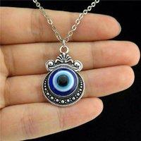 Alloy Acrylic Blue Evil Eye Crafts Mirror Pendant Short Collar Chunky Necklace Women Jewelry