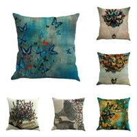Cushion Decorative Pillow Butterfly Painting Linen Cushion Cover Home Living Room Sofa Decorative Throw Waist Case Coussin Decoratif Cojines