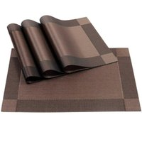Table Runner Placemat,Crossweave Woven Non-Slip Insulation Placemat Washable Mats(Brown,4Pcs Placemats)