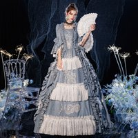 2021 Geburtstags-Party-Kleid mittelalterlicher Renaissance Blue Square Collar Maxi Kleider Ballkleider für Frauen