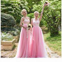 Abiti da damigella d'onore rosa graziosa 2 stili lunghezza del pavimento V Collo A Linea Pizzo Tulle Bride Maid Dress Honor 2020