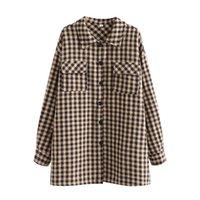 여성 재킷 대형 여성 옷깃 재킷 좋은 봄 가을 숙녀 캐주얼 한국어 느슨한 여성 microdermabral plaid top