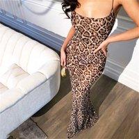 Newasia Bahçe Uzun Yaz Elbise Leopar Kadınlar Vintage Hayvan Baskı Parti Maxi Elbise Rahat Zarif Plaj Elbise 210311