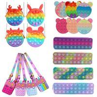 Monedero Monedero Puser Burbuja Funda Lápiz Fidget Toys Rainbow Silicone Girls Bolsos Anti estrés Estrés Anhelo Anhelos Para Niños Adulto