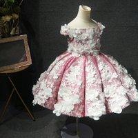 Pink Little Pearls Flower Girls Dresses Ruffles Princess Kids First Communion Gown Floor Length Toddler Christening Dress
