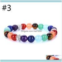 Jewelry100Percent All Natural Stone Lava Tiger Eye Beads 7 Chakra Bracelet For Women Men Yoga Buddha Player Bracelets Beaded, Strands Drop D