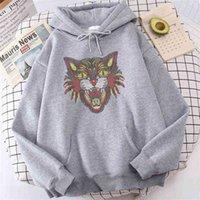 Cabeça de tigre imprime capô feminino 2021 novo lã hip hop s-xxl hoodies moda casual roupas recuperadas camisola de crewneck senhoras