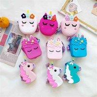Children Coin Wallet Kids Purse Handbags Cartoon Unicorn Bag Cute Versatile Summer Candy Color Silicone Messenger Bags sale G7047SU