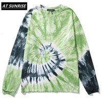 Atsunrise 2021 Hommes Hop Hop Tie T-shirt T-shirt Streetwear Harajuku T-shirt lâche T-shirt HiPhop T-shirt surdimensionné Tops en coton tees à manches longues